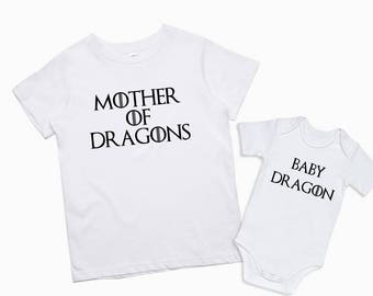 Game of Thrones Mom and Baby Matching Set of 2 Mother Daughter T Shirt Mommy And Son Matching Outfits Mother Of Dragons Baby Dragon