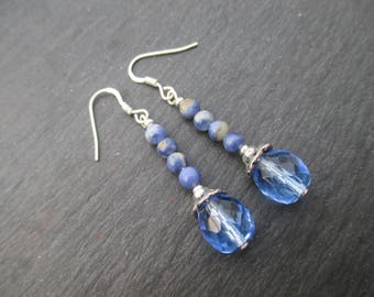 Earrings in 925 sterling silver faceted sodalite and Bohemian