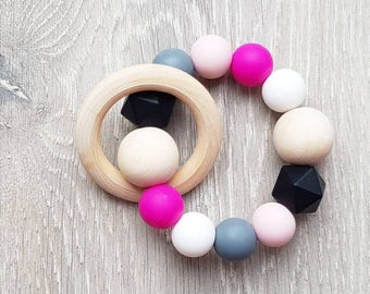 Magenta //Teething Ring and Rattle