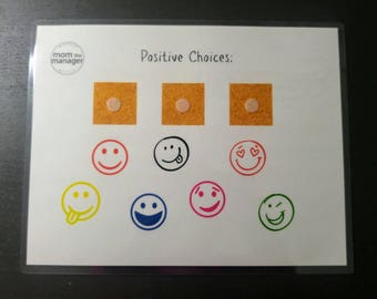 Positive Choices: Emoji Laminated Chart for daily routines, tasks and chores
