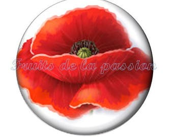 1 cabochon 30mm, nature, flower, round glass