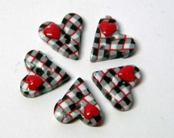Mini button English heart handmade