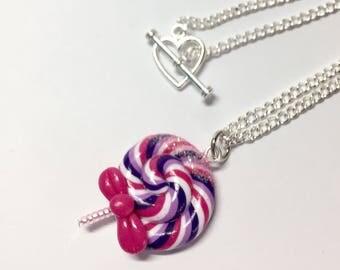 Purple lollipop necklace