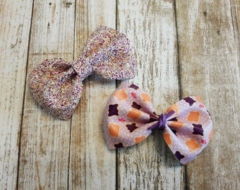 Peanut Butter Jelly Bow - Faux Leather Bow- Glitter Bow - Baby Bow- Girls Bows - Baby Headbands - Bow Clips