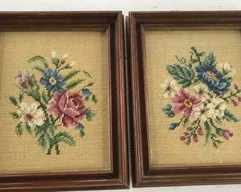Vintage pair of framed needlepoint pictures with roses and flowers
