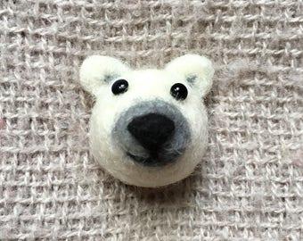 needle felted polar bear brooch / push pin