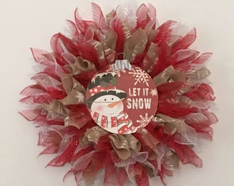 Handmade Large Deco Mesh Christmas Wreath