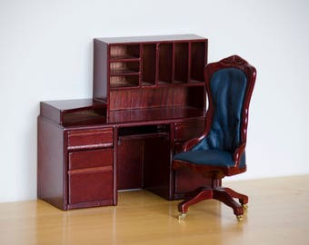 Dollhouse Office chair & desk 1:12 scale Mahogany wood