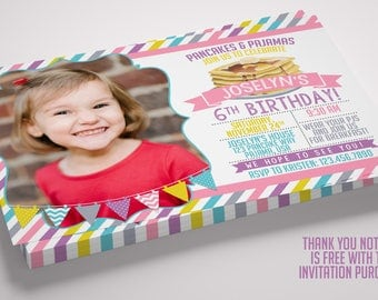 Pancakes and Pajamas Photo Birthday Invitation with FREE Thank You Note!