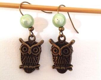 Light green OWL EARRINGS
