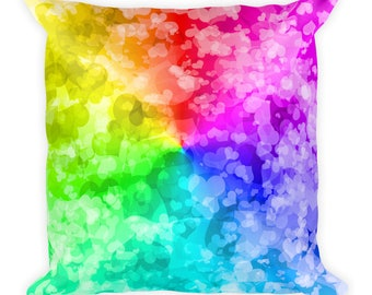 Love is Love LGBT Rainbow Hearts Square Pillow