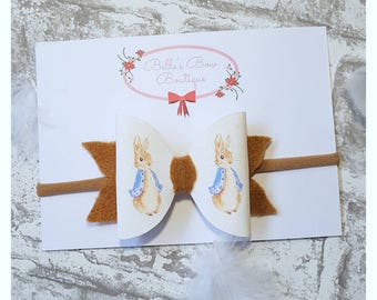 Peter Rabbit Headband - Peter Rabbit Hair Bow, Baby Headband, Rabbit Headband, Easter Headband, Toddler Headband, Peter Rabbit Bow