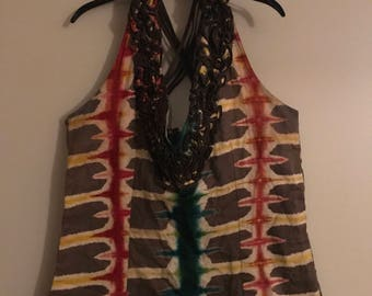 African Print Top woth back details