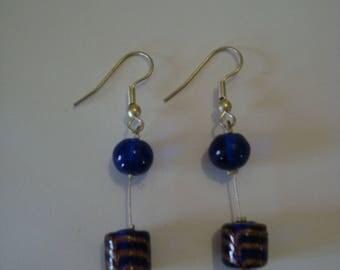 Earrings dangle fancy dark blue