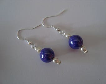 Moon blue and white earrings