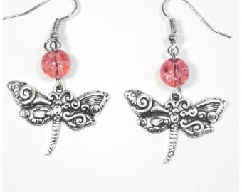 "Silver and pink glass earrings ""Dragonfly"""