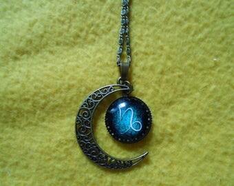 Cresent moon Capricorn zodiac necklace