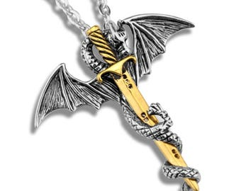 FREE SHIPPING - Dragon and Sword Unique necklace