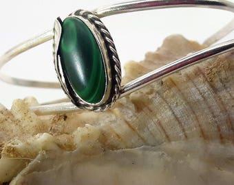 Cabochon Malachite Sterling Silver Cuff Bracelet/Free Shipping US/   Vintage Bracelet/Birthday/Christmas/Valentines/   Anniversary Present