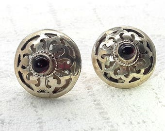 Sterling Silver Garnet Earrings Handmade Cut-Out Design/Vintage Handmade Earrings/Birthday/Christmas/Valentines/ Wedding/Free Shipping US