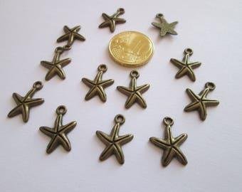 12 breloque étoile de mer en métal couleur bronze 18 X 13 mm