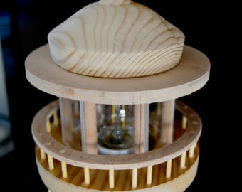 Miniature wooden lamp lighthouse . Table lamp lighthouse with nice details.