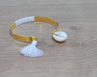 white metal tassel Bangle Bracelet silver plated or gold