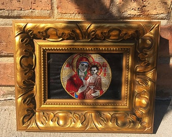 Sv. Bogorodica | Mother Mary | Holy Mother of God | Embroidery art | Framed art | Orthodox |Slava