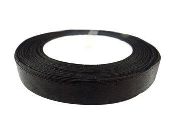 22 meters width 12 mm black satin ribbon