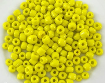 20 grams of beads 4 mm-prq003 opaque yellow seed beads