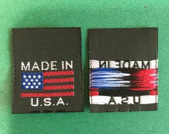 500 pcs  Made in U.S.A. with American Flag high quality woven label