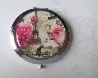 x 1 vintage metal Eiffel Tower pattern Pocket mirror silver 7.7 x 7 cm No. 7