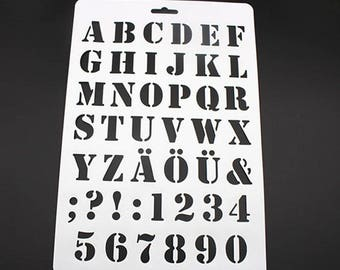 x 1 large stenciled letters/alphabet print, numbers plastic 30.7 x 20.7 cm