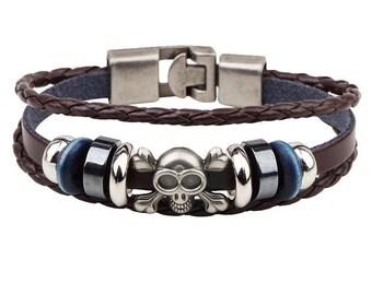 x 1 Unisex braided leather bracelet Brown skull silver 19 cm