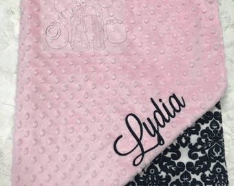 Blush Pink and Damask Personalized Minky Blanket, Custom Minky Blanket, Personalized Baby Blanket, Baby Girl Minky Blanket, Baby Gift