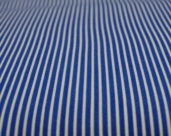 Printed cotton fabric stripe blue Royal and white 2mm