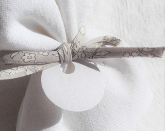 Pouch dragees linen Ribbon and vintage Liberty Capel grey Pearl for baptism, wedding, first communion