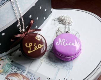 Custom polymer clay macaroon necklace