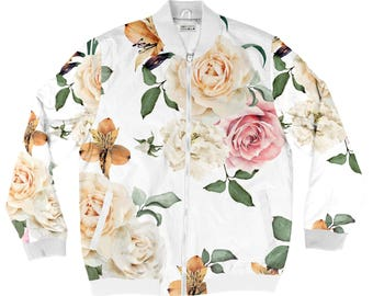 White Roses Bomber Jacket