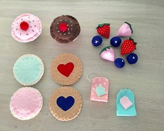 Free shipping!!Valentines gift for kids, Felt food play set, felt tea set, play food