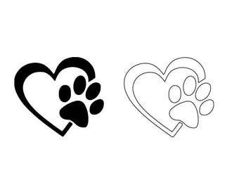 Heart Dog Paw SVG Vector Download for Silhouette studio, Cricut, craft robo , SCAL, adobe illustrator.