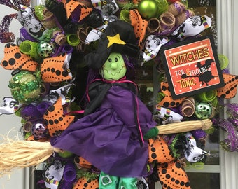 Halloween Witch Wreath Whimsical Decoration for front door, outside or Indoors.
