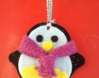 Christmas ornament Penguin scarf glitters