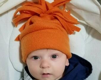 Orange Fleece Hat 3mo