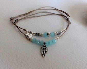 Blue beads and sterling silver slide bracelet