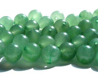 8 aventurines de 8 mm perles pierre verte.