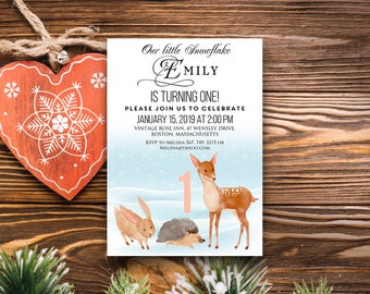 Winter First Birthday Invitation Woodland Baby Birthday Printable Invite Watercolour Forest Animals Deer Hedgehog Bunny Invitation Editable