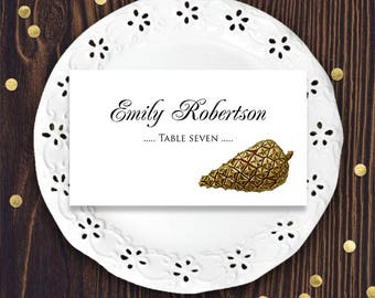 Pinecone Place Cards Forest Wedding Place Cards Escort Cards Template Printable Name Cards Outdoor Woodland Rustic Wedding DIY Editable PDF
