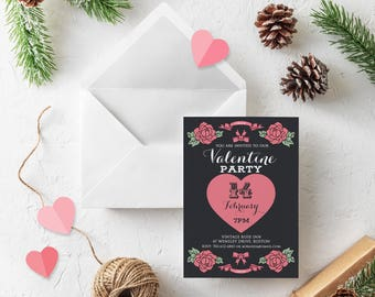 Pink Heart Printable Invitations Valentines Party Black Invitations Pink Flowers Dinner Invites Valentines Heart Floral Invitation Template