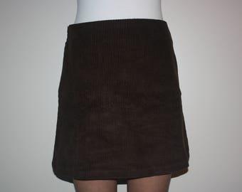 Chocolate Brown Corduroy Skirt